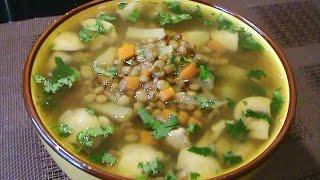 Суп из чечевицы с грибами