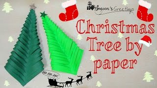 how to make christmas tree by paper easy 5 minutes craft by paper for kids xmas tree by paper