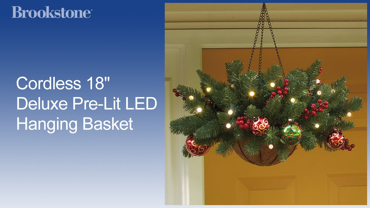 cordless 18 deluxe pre lit led hanging basket