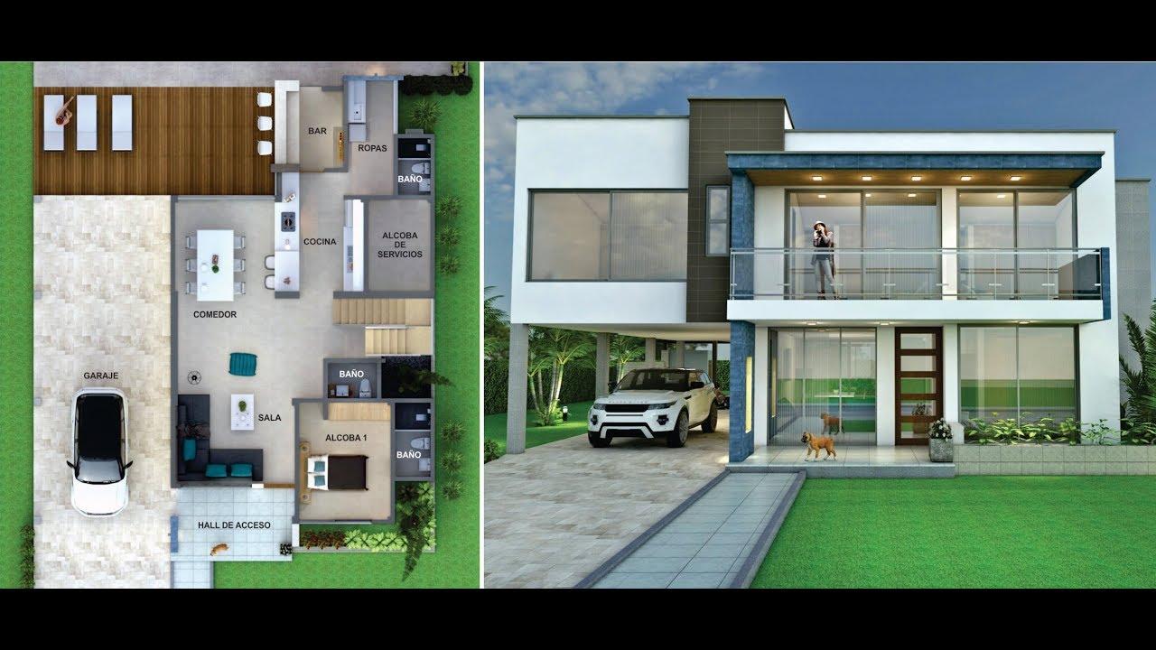 Planos casa campestre moderna en dos pisos 6 dormitorios for Casa moderna 5 dormitorios