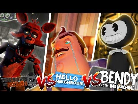 Minecraft BENDY AND THE INK MACHINE VS HELLO NEIGHBOR VS FOXY FNAF