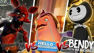 Minecraft BENDY AND THE INK MACHINE VS HELLO NEIGHBOR VS FOXY FNAF