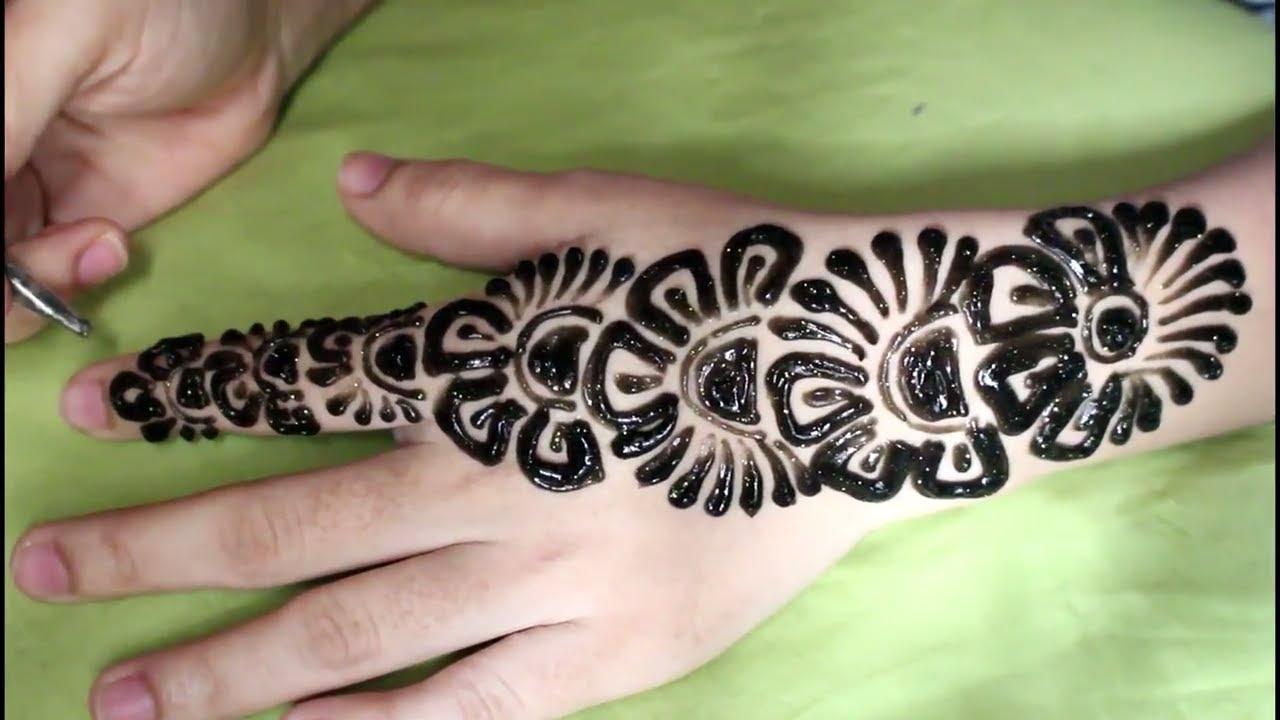 How To Make Thick Arabic Mehndi Design For Beginners Black Glitter