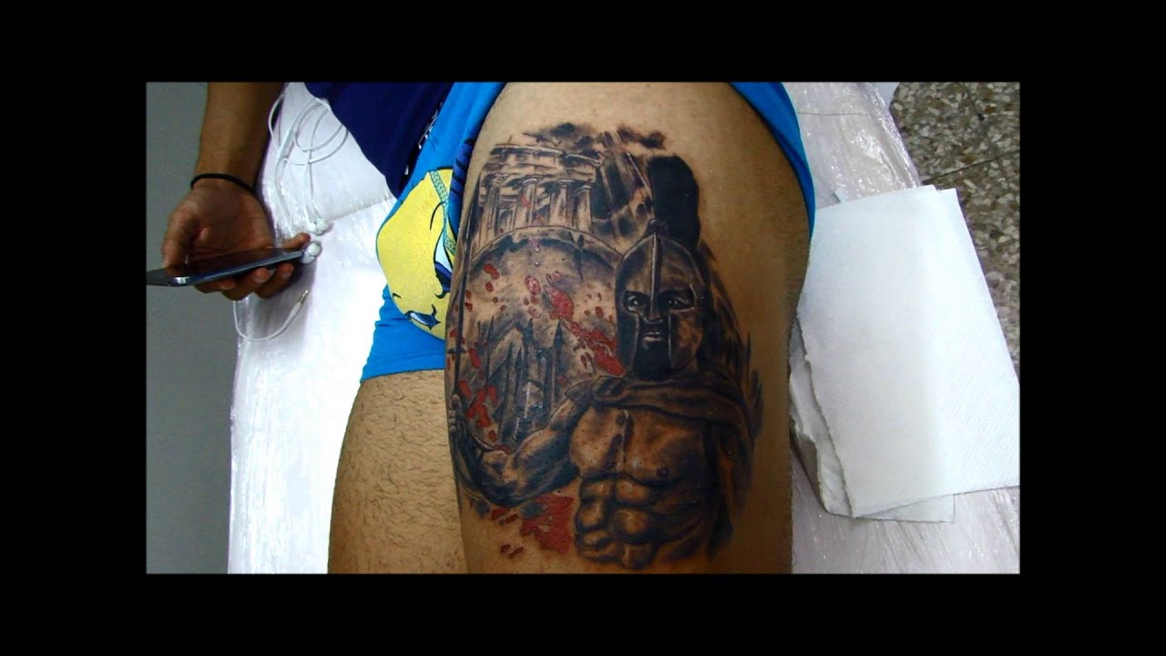 leonidas 300 spartan tattoo by chris cosmos tattoo studio youtube. Black Bedroom Furniture Sets. Home Design Ideas