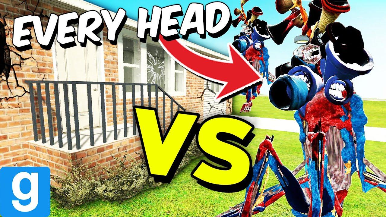 EVERY HEAD vs DESTRUCTIBLE HOUSE (Garry's Mod Sandbox)