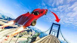 AMAZING ROCKET CAR STUNT LANDING! - (GTA 5 DLC Stunts & Fails)