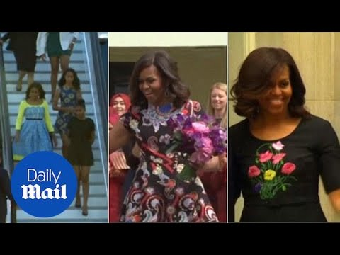 Michelle Obama showcases summer wardrobe on Europe trip - Daily Mail