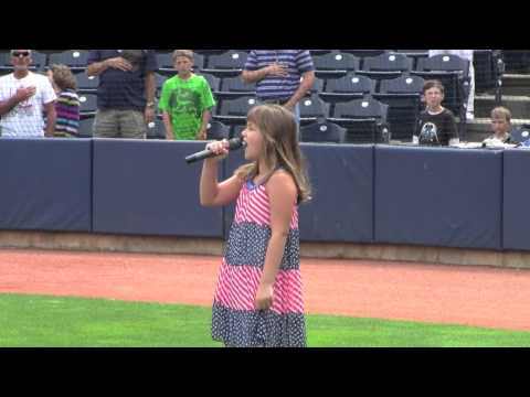 Ava Preston sings the National Anthem at the Akron Rubber Ducks game