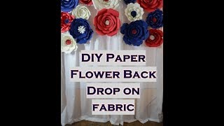 DIY Paper Flower Backdrop How to attach paper flowers to fabric Dollar Tree Foam board