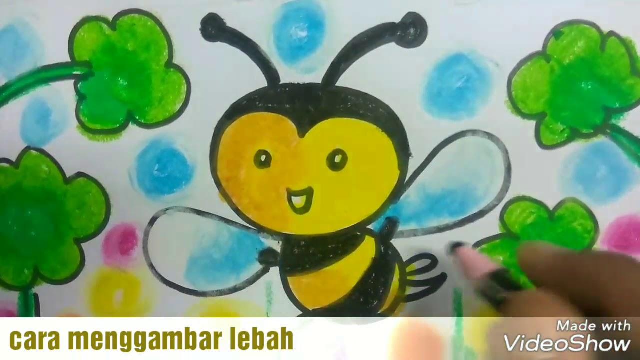 Gampang ban Cara menggambar lebah dan mewarnai dengan crayon