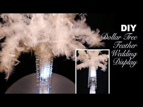 DIY   Dollar Tree Feathery Wedding Display Centerpiece