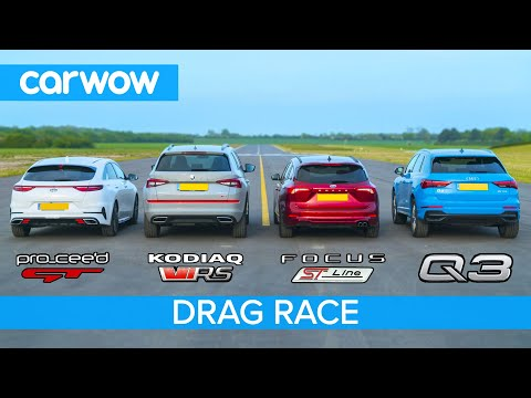 Skoda vRS v Audi Q3 v Ford Focus v Kia GT - THE carwow garage DRAG RACE, ROLLING RACE & BRAKE TEST