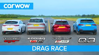 Skoda vRS v Audi Q3 v Ford Focus v Kia GT -  THE carwow garage DRAG RACE, ROLLING RACE & BRAKE TEST