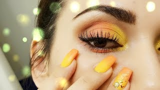 Orange and Yellow Makeup and Nails Combo #2