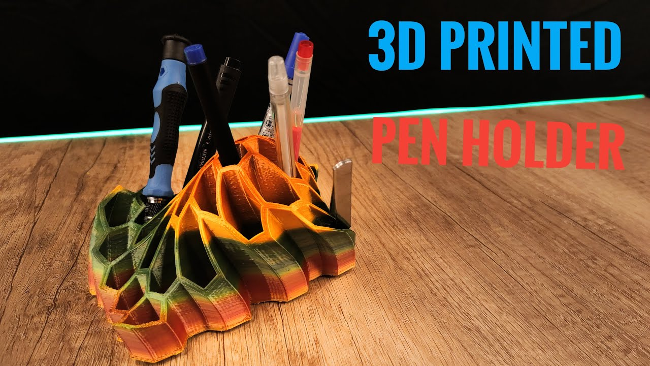 3D Printed Unusual Pen Holder With Rainbow Filament - 3D Printing Timelapse