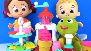 Niloyanın Dondurma Dükkanı hamur oyunları Pepee Niloya Mete Tospik ile Waffle ve Kapkek yapıyoruz