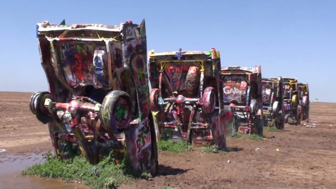 The Cadillac Ranch In Amarillo Texas On Route 66 Youtube