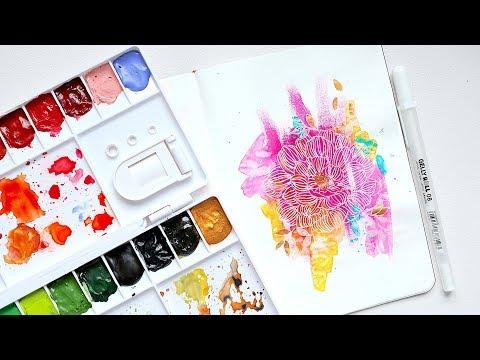 Art Journaling: Abstract Flower | Watercolour Tutorial thumbnail