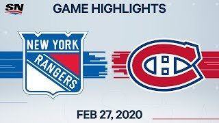 NHL Highlights | Rangers vs. Canadiens - Feb. 27, 2020