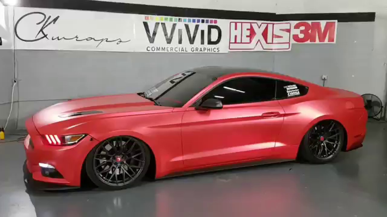 Completed vinyl wrapped mustang gt vinyl wrapped in satin red chrome by ckwraps