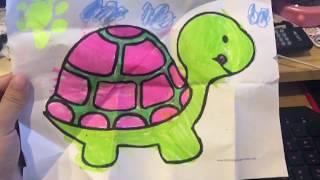 姐姐送給爸爸的信 這是.... 烏龜 姐姐的畫畫 三色筆畫動物圖案