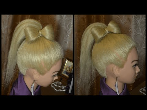 Оригінальна і легка зачіска на кожен день.Бант з волосся, як доповнення до хвоста.