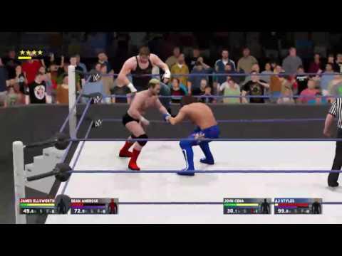 Wwe 2k17 Aj Styles & John cena Vs James Ellsworth & Dean Ambrose - Smackdown Live