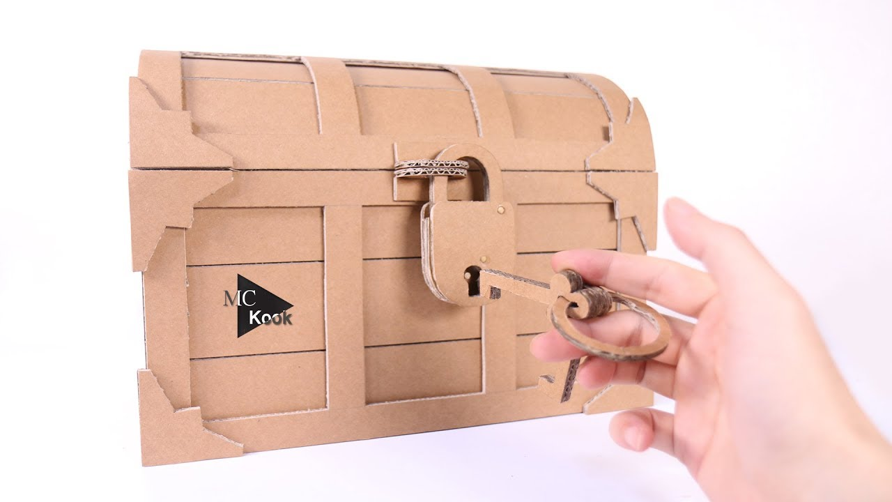 How To Make Treasure Chest With A Lock Cardboard Diy
