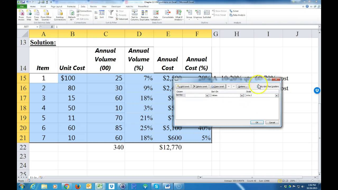 how to classify inventory as a b c using excel youtube