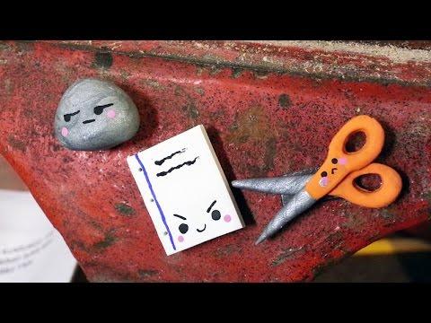 Back to School Rock, Paper, Scissor Locker Magnets Polymer Clay Tutorial Collab LittleSurprisesYT