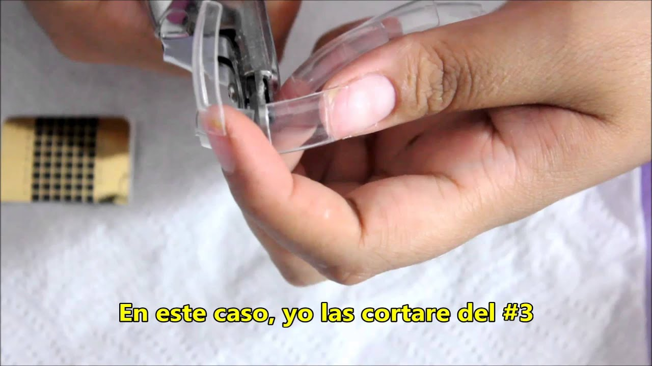Como hacer uñas punta almendra con tips normal / How to make Semi ...
