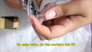 Como hacer uñas Semi Stiletto con tips normal / How to make Semi Stiletto nails