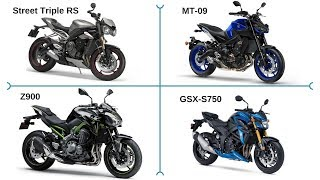 Street Triple RS v MT-09 v Z900 v GSX-S750 | Four way comparison and review!