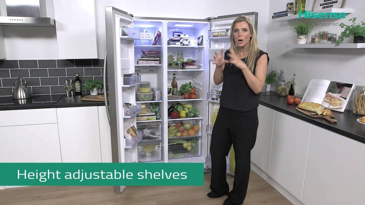 American Side By Side Fridge Freezer Part - 28: RS723N4W Hisense American Side By Side Fridge Freezer - YouTube