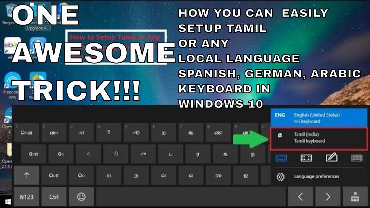 How to add local language keyboard in windows 10 Tamil Hindi Arabic Spanis  Malayalam Telugu Bengali