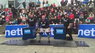 Derek Devaughn of the USA does a deadlift max ladder Iceland 2015