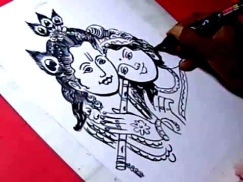 How To Lord Radha Krishna Drawing For Kids Step By Step Youtube