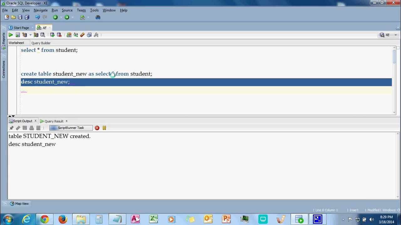 How to copy one table records into another new table in oracle