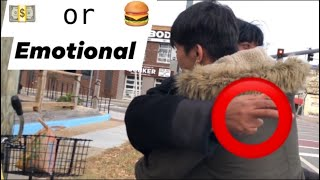 Money or Food for homeless social experiment (1028P HD)