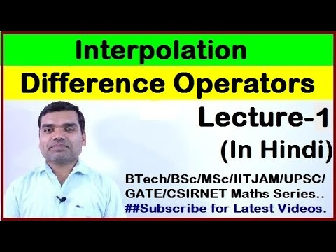 Finite Difference Operators in Hindi(Part-I)