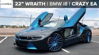 """Crazy EA Wraps BMW i8 on 22"""" LEXANI Wraith Electric Blue Wheels"""