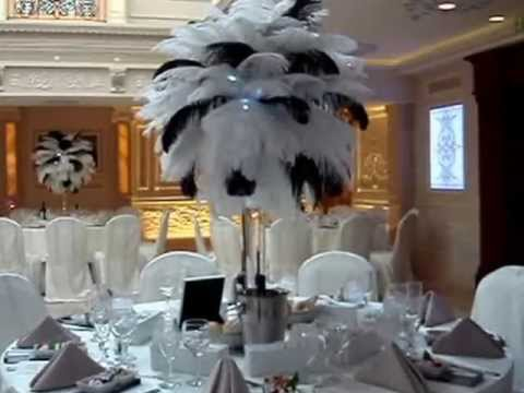 Black White Themed Wedding Centerpieces At Jericho Terrace