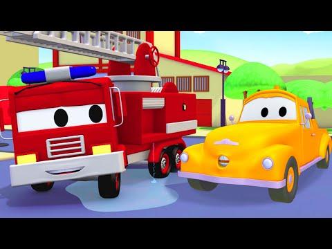 Bärgningsbilen Tom och brandbilen Franck i Bilköping | Byggserier om bilar och lastbilar (för barn)