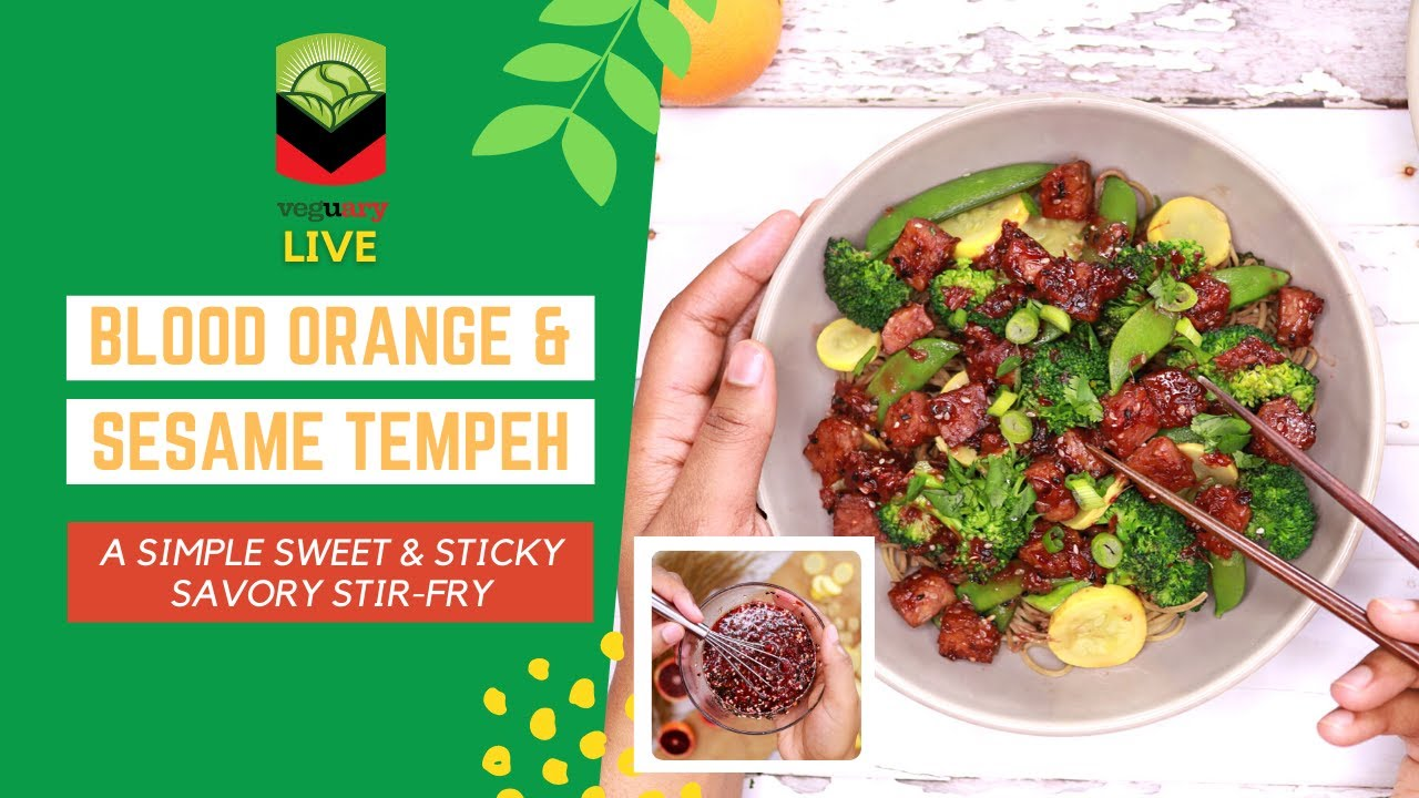 Making Sweet and Sticky Tempeh Noodle Stir-Fry with Blood Orange & Sesame Sauce
