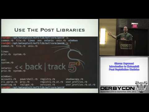 1 3 2 Steven Haywood   Introduction to Metasploit Post Exploitation Modules