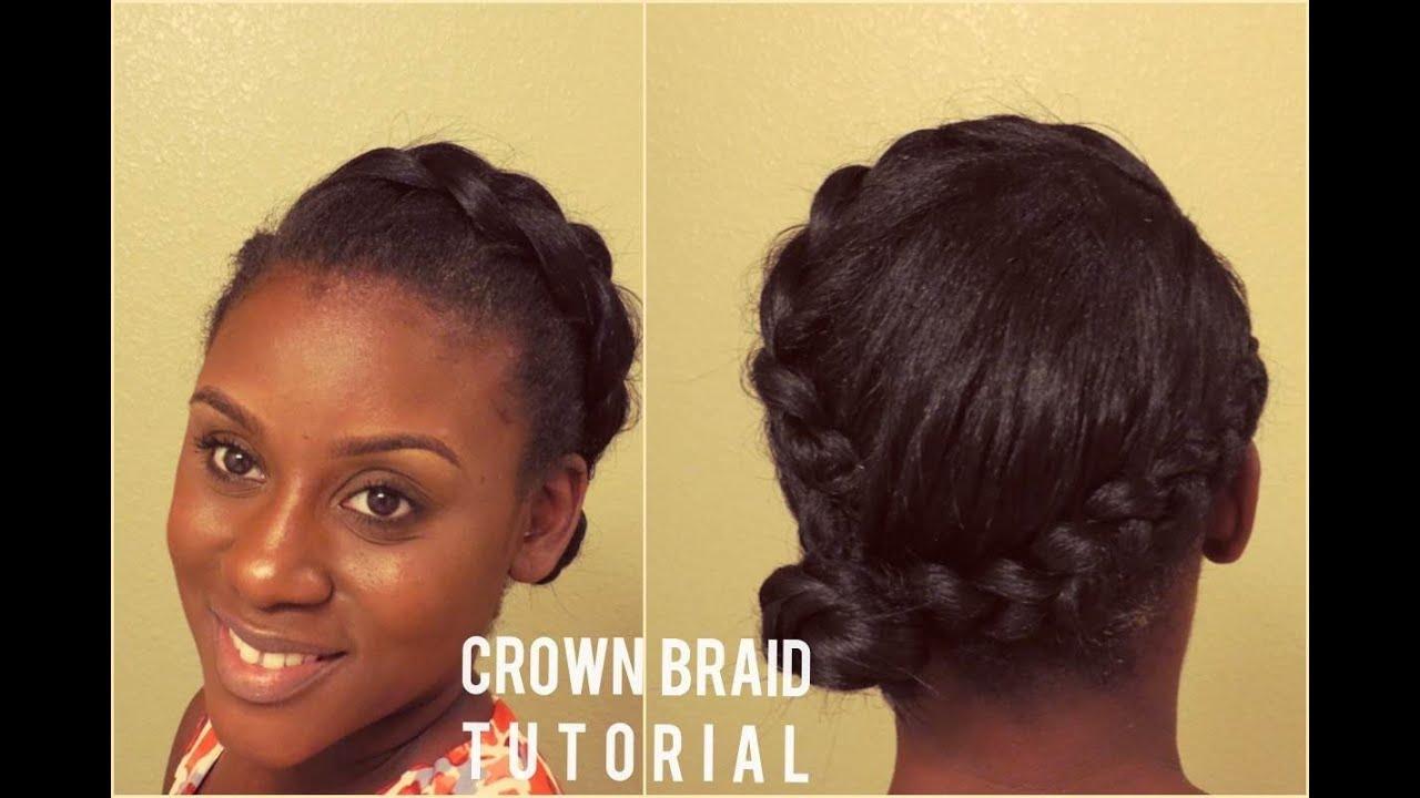 Straightened Natural Hair | Crown Braid Tutorial - YouTube