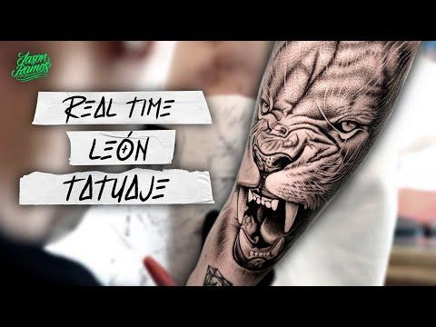 TATUAJE LEÓN Realista En Brazo Tiempo Real / Aguja De Línea 3rl / Black&Grey Realistic Lion TATTOO