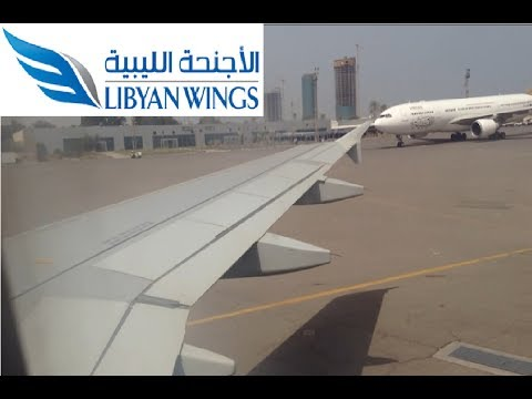 (HD) ✈الاجنحة الليبية Libyan Wings A319 landing at Tripoli Mitiga International Airport (City Views)