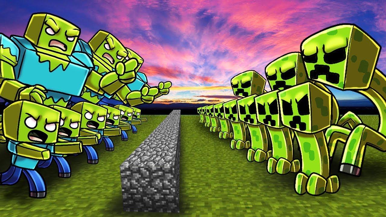 Minecraft zombie army vs creeper army castle defense - Minecraft zombie vs creeper ...