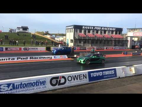 Toyota MR-S roadster spyder vs Subaru WRX 1/4 mile drag race at Santapod